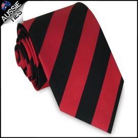 Mens Red & Black Stripes Sports Tie