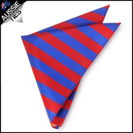 Mens Red & Blue Striped Pocket Square Handkerchief