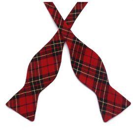 Red, Black & Gold Tartan Self Tie Bow Tie