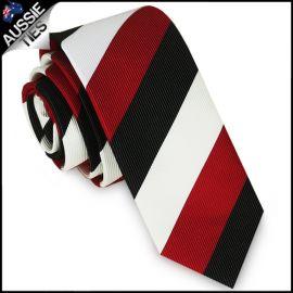 Mens Scarlet Red, Black & White Stripes Skinny Tie