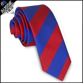 Mens Red & Blue Stripes Skinny Tie