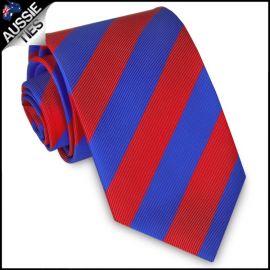Mens Red & Blue Stripes Sports Tie