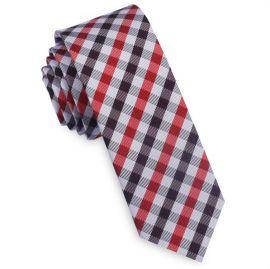 Red, Burgundy & White Check Plaid Skinny Tie