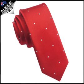 Scarlet Red Pin Dot Mens Skinny Necktie