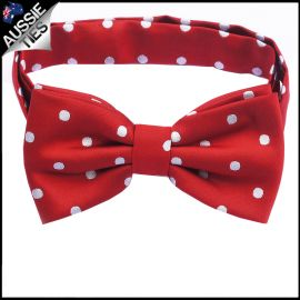 Scarlet Red Polka Dot Mens Bow Tie