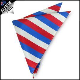 Mens Red, White & Blue Striped Pocket Square Handkerchief