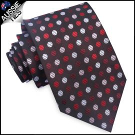 Red, White and Light Pink Polka Dots Mens Tie