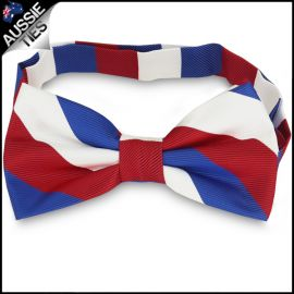 Mens Red, White & Blue Stripes Bow Tie