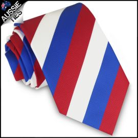 Mens Red, White & Blue Stripes Sports Tie