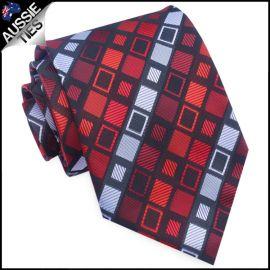 Red & Grey Retro Squares Mens Tie