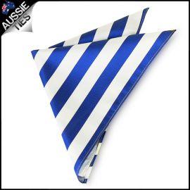 Mens Royal Blue & White Striped Pocket Square Handkerchief
