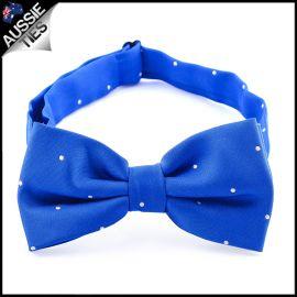 Royal Blue Pin Dot Mens Bow Tie