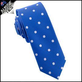 Royal Blue Polka Dot Mens Skinny Necktie