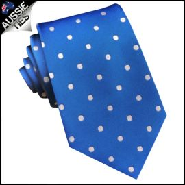 Royal Blue Polka Dot Mens Tie