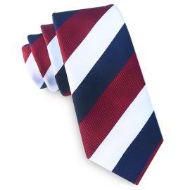 Scarlet, White & Blue Stripes Tie