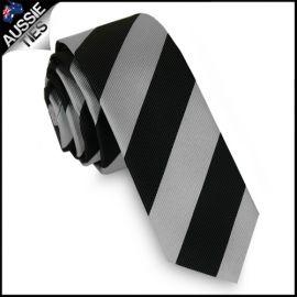 Mens Silver & Black Stripes Skinny Tie