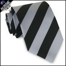 Boys Silver & Black Stripes Sports Tie