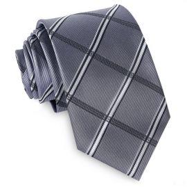 Silver Plaid Mens Tie