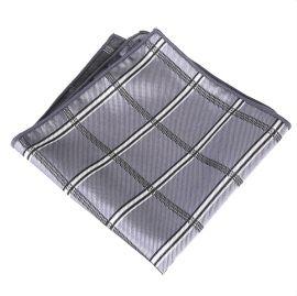 silver plaid design pocket square
