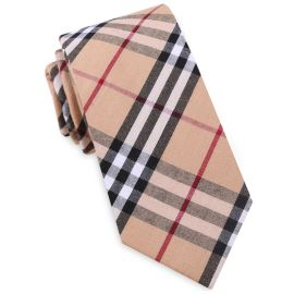 tan with red and white tartan tie