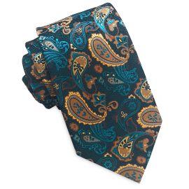 Teal and Tan Paisley Slim Tie