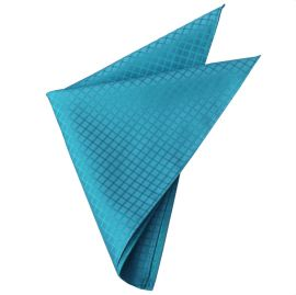 Turquoise with Grids Pocket Square