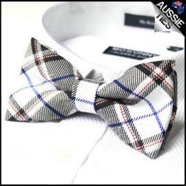 White Blue & Red Tartan Bow Tie