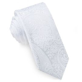 White Paisley Mens Skinny Tie