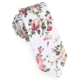 White with Pink & Apricot Floral Pattern Men's Skinny Tie