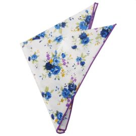 White with Purple & Blue Floral Pocket Square
