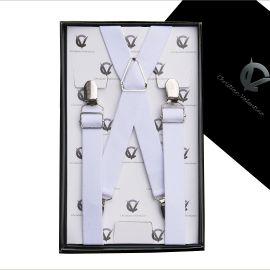 Men's White X2.5cm Braces Suspenders