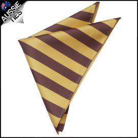 Mens Yellow & Brown Striped Pocket Square Handkerchief