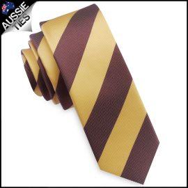 Mens Yellow & Brown Stripes Skinny Tie