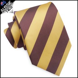 Mens Yellow and Brown Stripes Sports Tie