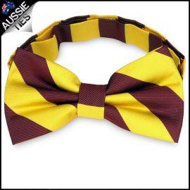 Mens Yellow & Maroon Stripes Bow Tie