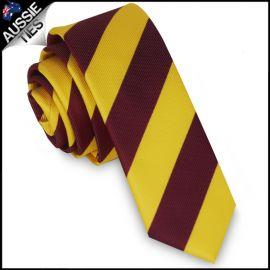 Mens Yellow & Maroon Stripes Skinny Tie