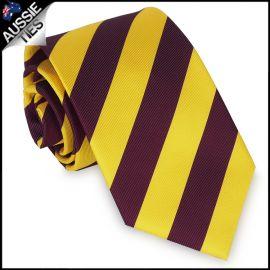 Mens Yellow & Maroon Stripes Sports Tie