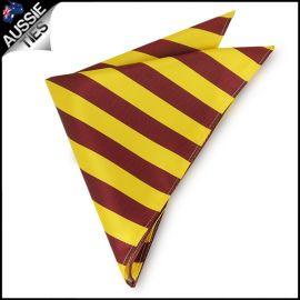 Mens Yellow & Maroon Striped Pocket Square Handkerchief
