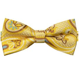 Yellow, Brown, Ivory & Blue Floral Bow Tie