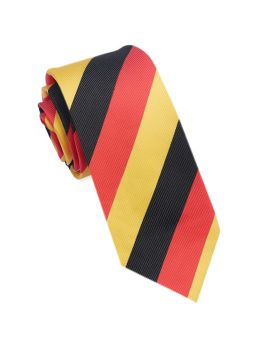 red, black and yellow skinny tie