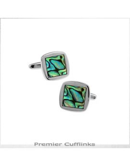 Rounded Square Paua Cufflinks
