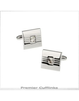 Silver with Square Crystal Inset Cufflinks