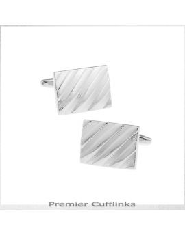 Classic Silver Diagonal Cufflinks