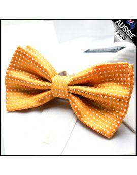 Apricot Orange with White Polkadots Bow Tie