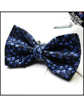 Blue and Black Floral Bow Tie