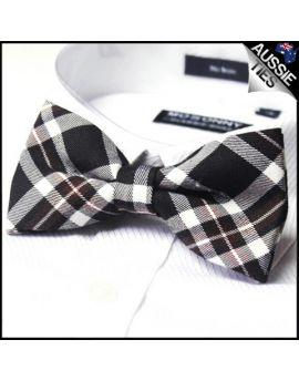Burgundy Black Tartan Bow Tie