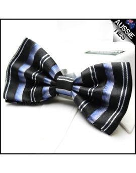 Blue Black White Stripes Bow Tie