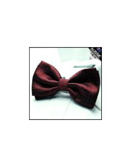 Burgundy Red Check Bow Tie