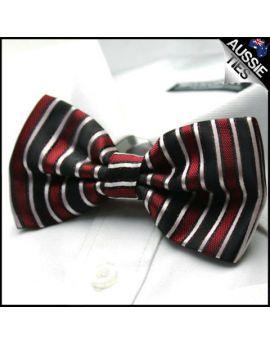 Black Red & White Stripes Bow Tie