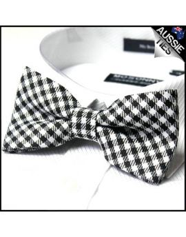 Black & White Check Bow Tie
